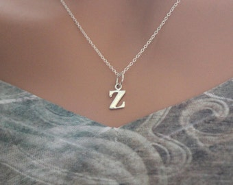 Sterling Silver Lowercase Z Initial Charm Necklace, Z Initial Necklace, Large Z Letter Necklace, Z Necklace, Typewriter Z Initial Necklace