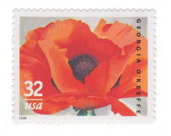 5 Unused US Postage Stamps - 1996 32c Georgia O'Keeffe Poppies - Item No. 3069 - Vintage Postage Shop