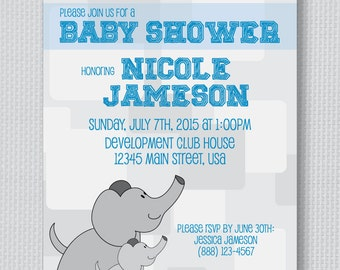 Baby Elephant Baby Shower Invite - 5x7
