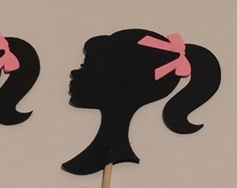 12 Barbie Silhouette, Barbie Party Picks - Cupcake Topper