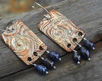 Stormy Seas- Handmade Copper & Fine Silver Dangles