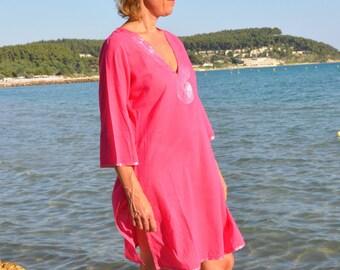 Beach Kaftan / Caftan, Beach Cover Up with Self Coloured Sequins in Raspberry