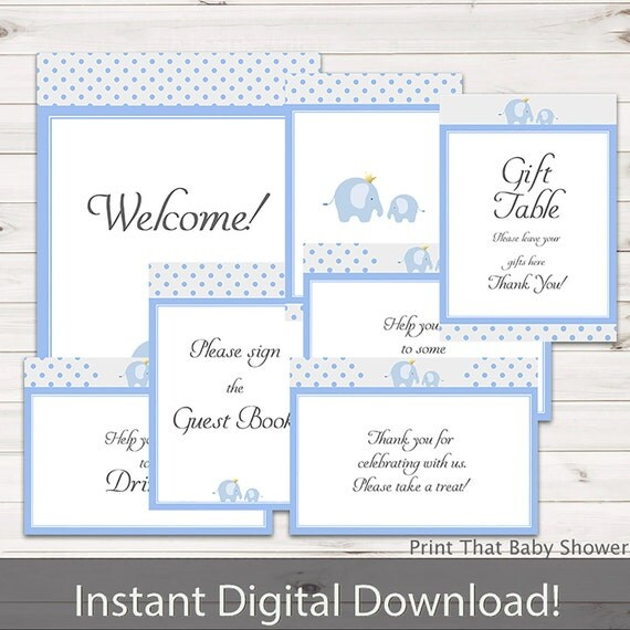 Baby Shower Decorations Blue Elephant Baby Shower Table Signs