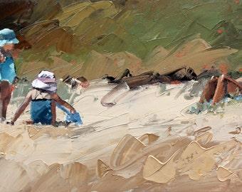"Fine Art Print | 5"" x 10"" |  8"" x 16"" | 12"" x 24"" | 16""x32"" | 24"" x 48"" | of my | impressionist painting | 'Hot Summer Day' | Beach Art"