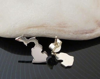 Sterling Silver Michigan Studs / Small Michigan Earrings / Love Michigan  / State Studs / Michigan Stud Earrings