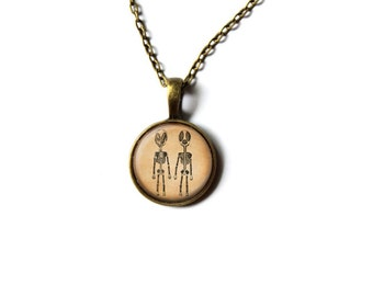Mutant necklace Skeleton jewelry Macabre pendant NWR260
