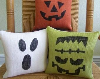 halloween pillow pumpkin pillow ghost pillow frankenstein pillow burlap pillow halloween - Halloween Pillows