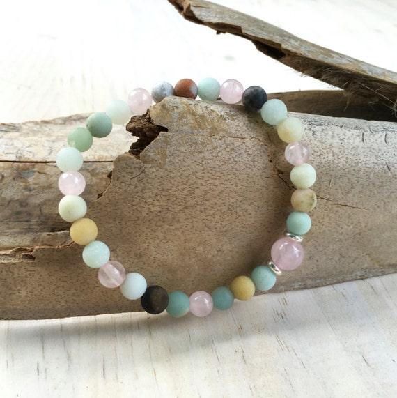 Amazonite Beaded Stretch Bracelet, Bracelet To Match Mala Beads, Yoga Jewelry, Mala Inspired, Boutique Fashion Bracelet, Boho Bracelet