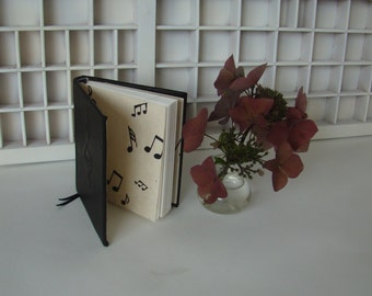 Notebook music keys-black leather, hardcover-unique hand-bound booklet-write-solid leather cover with relief