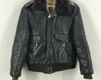 Vintage 60's/70's Brown Leather Bomber Flight Jacket Mouton Collar Size 40