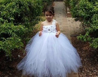 White Tutu Flower Girl Dress - bridesmaids dress/ White Flower Girl/