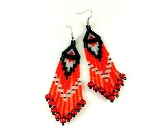 Red earrings Beaded earrings Black white long earrings Seed bead earrings Red jewelry Red gift for woman Coral earrings Dangle earrings