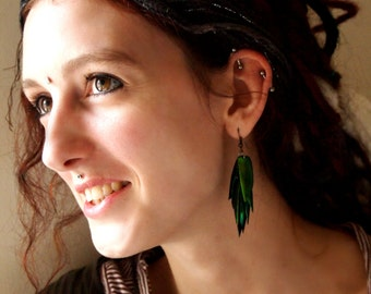 Ethical Green Beetle Wing Earrings (Pair - medium size)
