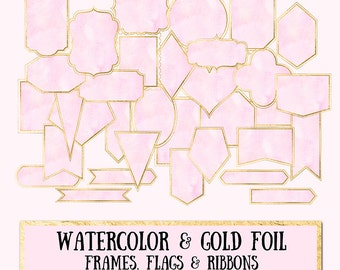 Watercolor & Gold Foil Frames Clip Art - blush watercolor and gold leaf frames labels flags ribbons scrapbooking wedding photography blog