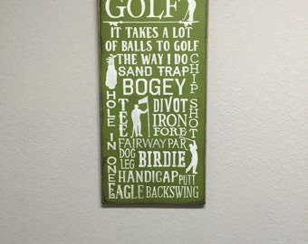 FREE SHIPPING! Golf Sign - Primitive Signs - Primitive Wood Signs - Primitive Decor - Father Signs - Man Cave Signs