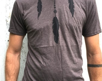 25% OFF - Feather Tshirt, mens feather tee, tribal feather shirt, yoga clothing feathers, wiccan clothing, dreamcatcher, shaman wiccan