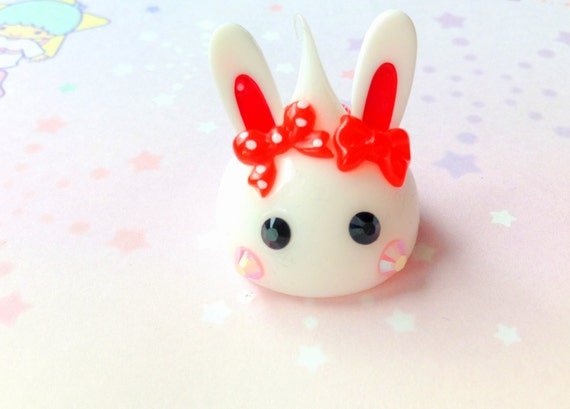 Squishy Bunny Etsy : White Bunny Hoppe Chan Figurine Kawaii Squishy Bunny Red