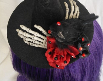 Raven and Roses with Gems Mini Witch's Hat with hair clip