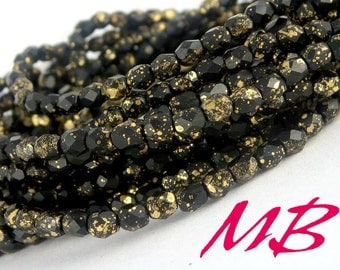 4mm Black and Gold Faceted Glass, Czech Fire Polished