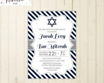 Bar Mitzvah invitation printable blue Bar Mitzvah invitation bat mitzvah invitation boy invitation bar mitzvah invite elegant