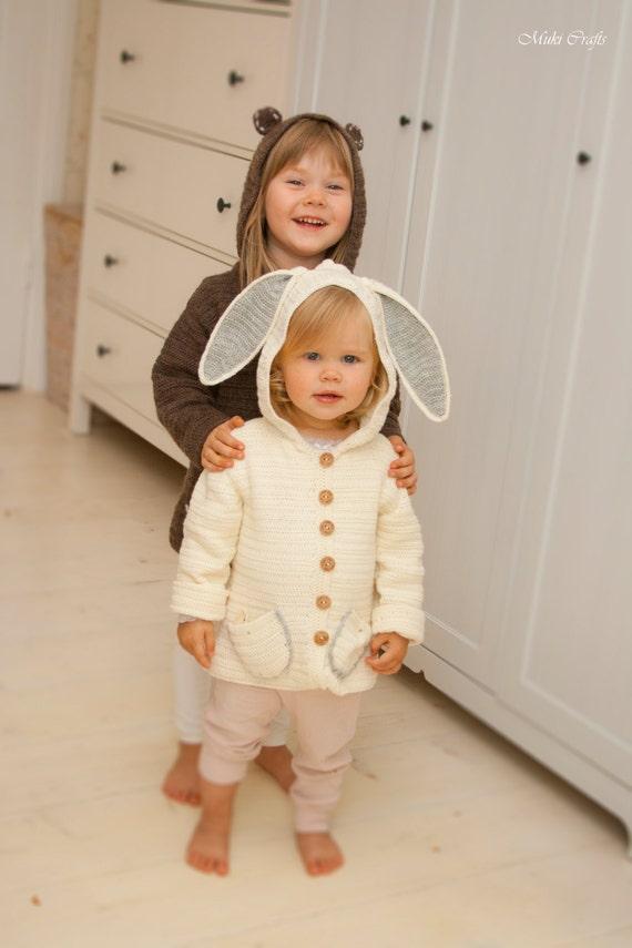 CROCHET PATTERN hooded jacket Otis bunny or bear  (1-10 year old sizes)