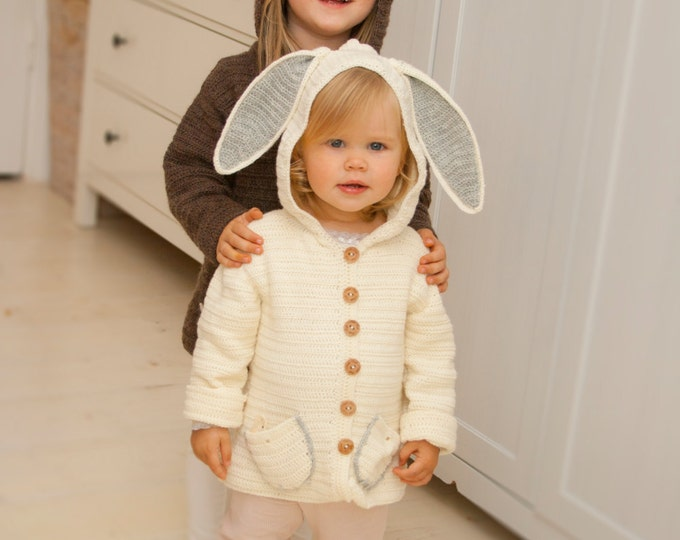 CROCHET PATTERN hooded jacket Otis bunny or bear  (1-10 year old sizes)