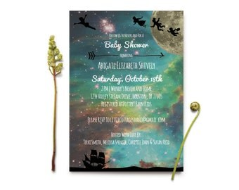 Peter Pan Baby Shower Invitation | Neverland Baby Shower Invitation |  Cosmic Baby Shower Invite | Lost Boys Baby Shower Invitation