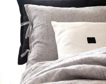 Gray linen pillowcase - Linen sham - Striped linen bedding - Black and white bedding   0400
