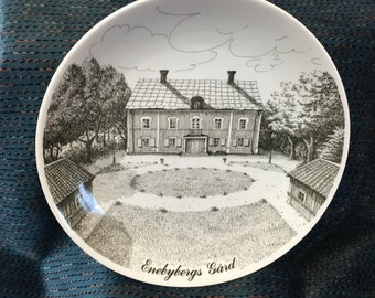 Enebybergs Gard, Danderyd Stallrik no3, 1980, Swedish Plate, Gustavsberg, Swedish Dish, Historical Plate,