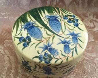 Paper Mache Lacquered Floral Trinket Box, Yellow and Blue Floral Paper Mache Box, India,Round Paper Mache Box, Treasure Box, Saras Imports
