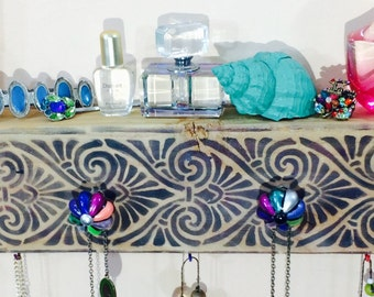 Necklace holder / jewelry hanger /reclaimed wood Art Deco decor wall hanging coat rack /makeup organizer 4 knobs 5 colorful hooks