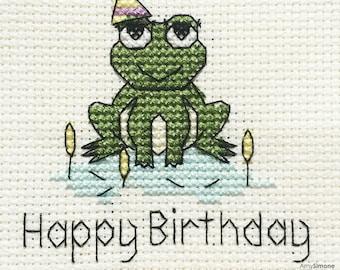 Frog Happy Birthday Cross Stitch Pattern
