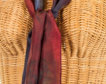 Scarf Silk Burgundy & Navy Hand Dyed READY TO SHIP