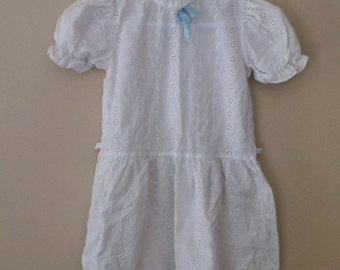 White Eyelet Girls Dress With Lace and Blue Ribbon Trim Size 3T