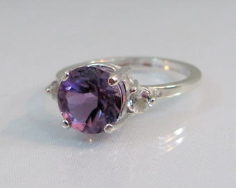 Amethyst Accent Ring in Sterling Silver, Amethyst Jewelry, 8mm African Amethyst Gemstone, February Birthstone, Purple Gemstone Ring,
