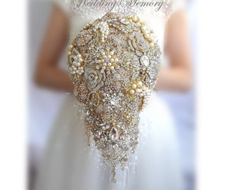 Rose gold BROOCH BOUQUET in waterfall cascading teardrop gold Great Gatsby style, jeweled with rose design brooches for wedding