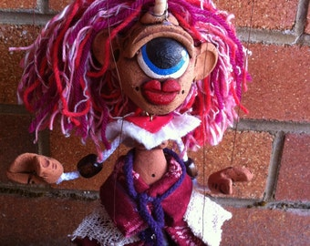 Miss Cyclops the Pink Sheclops - A partner for Mr.Cyclops. NEW DESIGN. Marionette Puppet Handmade by The Squeaking Tribe