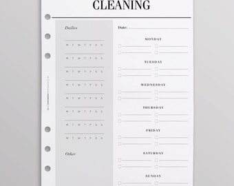 PRINTED Weekly Cleaning Schedule | Cleaning Checklist | Cleaning Planner Pages |  Chore Chart Inserts | A5 Planner Inserts Printed