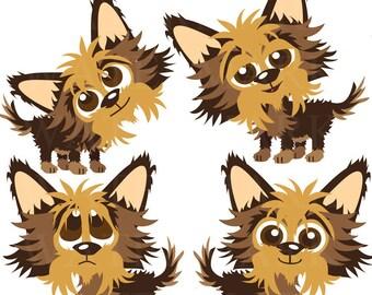 Yorkie Puppy's 4 Image Clip Art Set