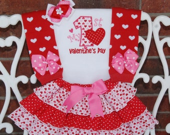 4 pc. Baby Girl Valentine's Day Outfit! Baby/Toddler Hearts & Dots Ruffle Skirt with Appliqued Bodysuit and Bow! 1st Valentines Day Outfit