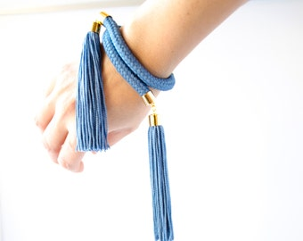 Blue Tassel Bracelet, Blue Rope Bracelet, Tassel Statement Bracelet, Tassel Bracelet, Statement Bracelet, Women Accessories, Fall Fashion