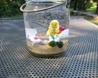LEGO Minifigure Mermaid Marimo Terrarium Kit - Vintage Ball Jar LEGO Minifigure Underwater Display- Good Luck Gift - Fun Office Gift