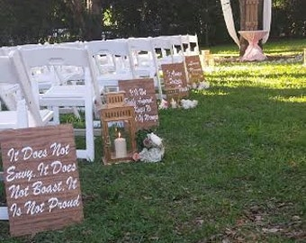 Set of 8/1 Corinthians 13 Wedding Aisle Sign/Love is Patient, Love Is Kind/Love Never Fails/Wood Wedding Ceremony Sign/Handmade Custom