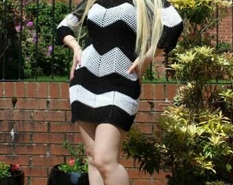 Hand Crocheted Mini Bodycon Black & White Dress, Handmade Dress
