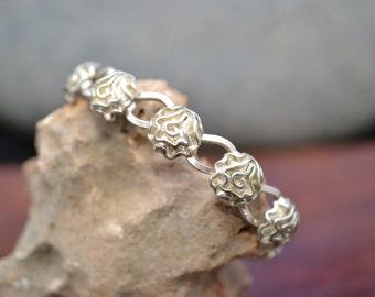 Sterling Silver Rose Flower Cuff Bracelet
