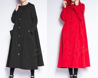 Anysize Spring Autumn Winter Coat jacquard linen&cotton coat plus size coat plus size clothing Y327