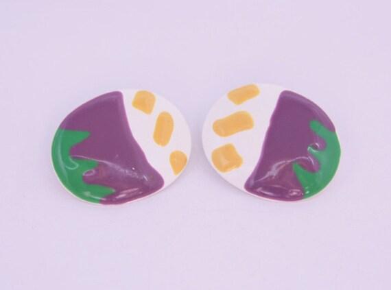 Funny Earrings Enamel Earrings Cute Oval Large Clip On