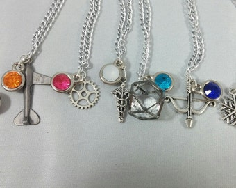 Overwatch Character Inspired Mini Jewel and Charm Necklaces - 7 Heroes - McCree, Tracer, D.Va, Mercy, Symmetra, Hanzo, Mei