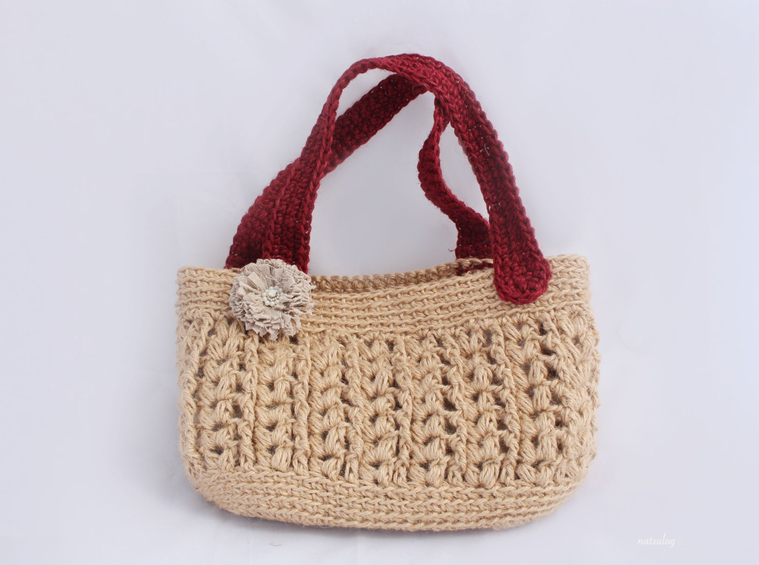 Crochet Small Tote Bag Pattern : Crochet Jute bag pattern Crochet tote bag pattern Crochet