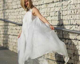 White Silk Dress, Beach Wedding Dress, Long Summer Dress, Boho Wedding Dress, Maxi Kaftan, Kimono Dress, White Caftan, Silk Bridal Dress